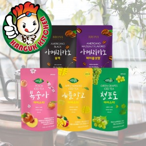 BRONS Korean Assorted Flavoured Ice Tea Pouch Drink 190ml (10 Packets / 1 Carton)