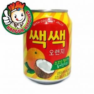 SacSac Orange Juice with Coconut Jelly Popular Korean Beverage 238ml (12 Cans / 1 Carton)