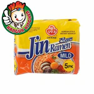 Imported Jin Ramen (Mild) Noodle Pack (5 EA) 120gm Ottogi Hanguk Kitchen Korean Food Mart